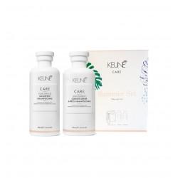 Vasariškas plaukų priežiūros rinkinys KEUNE SUN SHIELD (šampūnas 300ml + kondicionierius 250ml + Skraistė)