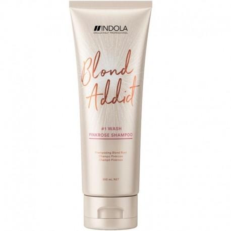Rausvo rožinio atspalvio šampūnas šviesiems plaukams Indola Blond Addict PinkRose Shampoo 250ml