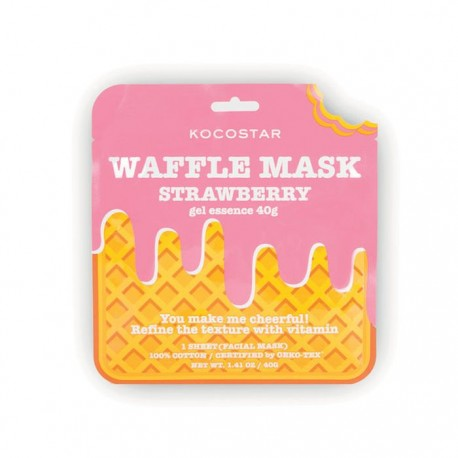 Kaukė šiurkščiai veido odai Kocostar Waffle mask Strawberry 1vnt.