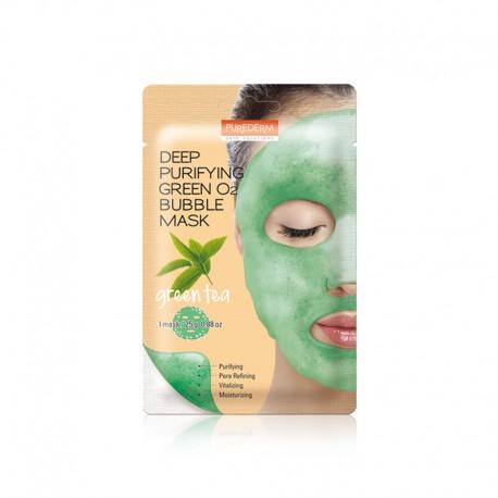 Giliai valanti putojanti kaukė – žalioji arbata Purederm Deep Purifying Green O2 Bubble Mask Green Tea 25g