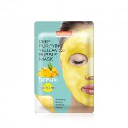 Giliai valanti putojanti veido kaukė su ciberžole Purederm Deep Purifying Yellow O2 Bubble 25g
