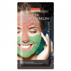 Putojanti kombinuota veido kaukė su rožiniu ir žaliu moliu Purederm Galaxy 2X Pink&Green 6g+6g