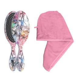 WetBrush plaukų priežiūros rinkinys Great Hair Day (šepetys+ rankšluostis) Pink
