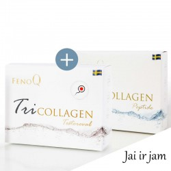 Geriamas grožio derinys Jai ir Jam Trikolageno FenoQ TriCollagen Peptide 14x25ml +FenoQ Tricollagen Testoreval 14vnt po 25ml