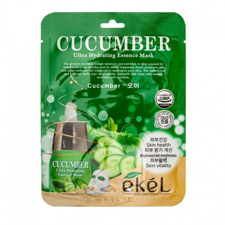 Lakštinė veido kaukė su agurkų ekstraktu Ekel Ultra Hydrating Essence Mask Cucumber 25g
