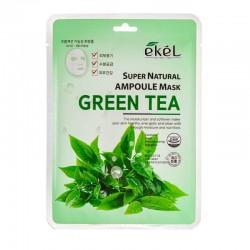 Lakštinė veido kaukė su žaliosios arbatos ekstraktu Ekel Super Natural Ampoule Mask Green Tea  25g