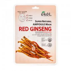 Lakštinė veido kaukė su raudonojo ženšenio ekstraktu Ekel Super Natural Ampoule Mask Red Ginseng  25g