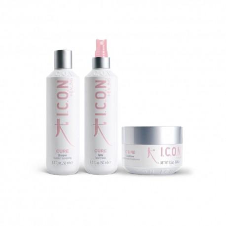 Riboto leidimo ICON CURE BY CHIARA šampūnas, kondicionierius, purškiklis įpakuota dėžutėje