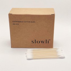 Bambukiniai ausų krapšukai Slowli Sustainable Cotton Buds 200vnt