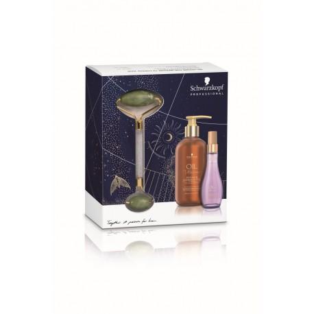 Šventinis plaukų priežiūros rinkinys Schwarzkopf Oil Ultime Barbary + veido masažuoklis