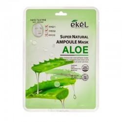 Lakštinė veido kaukė su alijošiaus ekstraktu Ekel Super Natural Ampoule Mask Aloe 25g