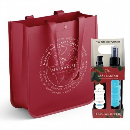 Plonų plaukų priežiūros rinkinys su argano ir kanapių sėklų aliejais MARRAKESH Holiday Bag Light Breeze
