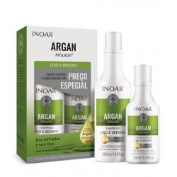 Glotnių ir švelnių plaukų rinkinys INOAR Argan Infusion Smooth and Silky Duo Kit  500ml+250ml