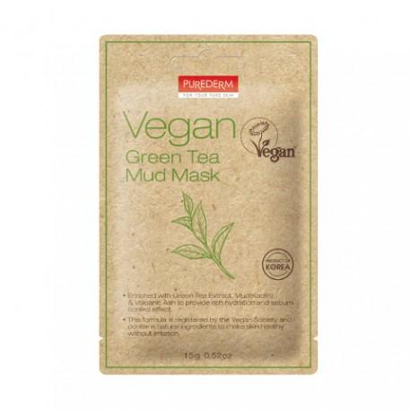 Veganiška purvo kaukė su žaliąją arbata Purederm Vegan Green Tea Mud Mask  15g