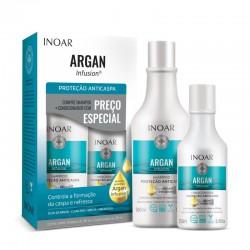 Riebios, pleiskanotos galvos odos priežiūros rinkinys INOAR Argan Infusion Anti-dandruff Duo Kit  500ml+250ml