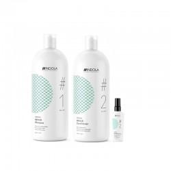 Stiprinamasis plaukų priežiūros rinkinys Indola Repair (Šampūnas 1500ml + kondicionierius 1500ml + dovana galiukų serumas 50ml)