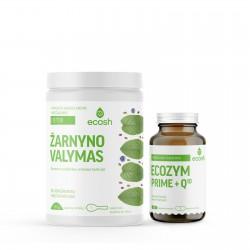 Maisto papildų rinkinys žarnynui ir geresniam virškinimui ECOSH DETOX+Ecozym Prime + kofermentas Q10