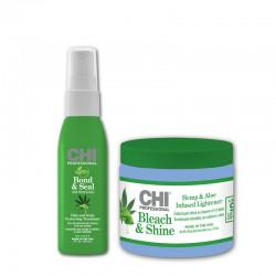 Plaukų šviesinimo rinkinys be amoniako su kanapių aliejumi ir Alea Vera CHI Blond + Ligtening System With Hemp & Aloe