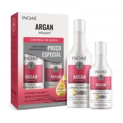 Plaukų priežiūros rinkinys slenkantiems ir lūžinėjantiems plaukams INOAR Argan Infusion Loss Control Duo Kit 500ml+250ml