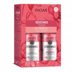 Plaukus drėkinantis priemonių rinkinys INOAR Resistance Flor de Lotus Duo Kit 2x250ml