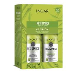 Plaukus stiprinantis priemonių rinkinys INOAR Resistance Fibra de Bambu Duo Kit 2x250ml