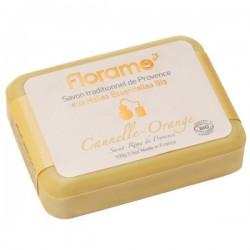 Muilas su organiniais eteriniais aliejais cinamono - apelsinų kvapo Florame 100 g