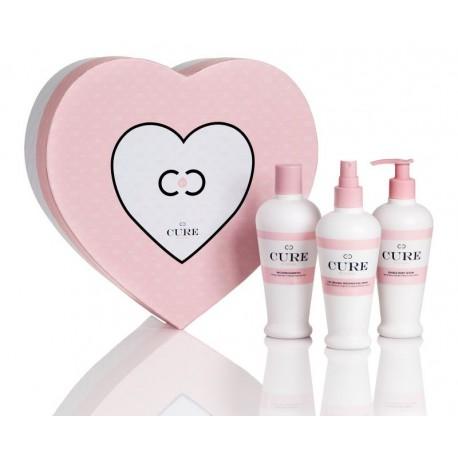 Riboto leidimo ICON Cure trio box šampūnas, kaukė, serumas įpakuoti širdelės formos dėžutėje