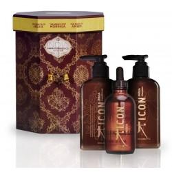 Riboto leidimo ICON INDIA trio dėžutė - šampūnas, kondicionierius, aliejukas