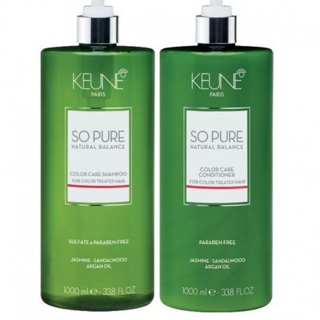 Keune So Pure Rinkinys dažytiems plaukams Color Care šampūnas ir kondicionierius