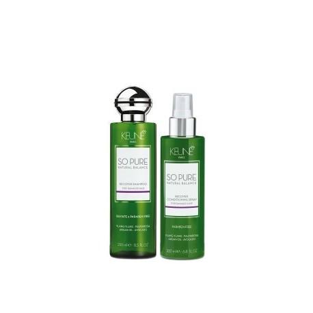 Keune SO PURE rinkinys kasdienei pažeistų plaukų priežiūrai Recover šampūnas 250ml + kondicionierius 200ml