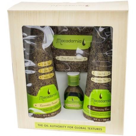 Plaukus atstatančių priemonių rinkinys Macadamia, 4 dalių