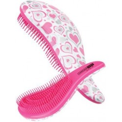 Šepetys besiveliantiems plaukams Cala Tangle Free Hair Brush Pink & Silver Heart