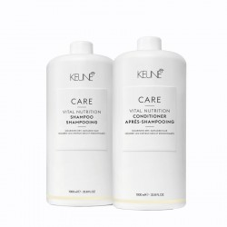Rinkinys sausų, pažeistų plaukų priežiūrai KEUNE Care Line VITAL NUTRITION Šampūnas 1000ml ir Kondicionierius 1000ml