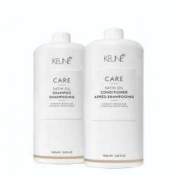 Rinkinys porėtų, sausų, blizgesį praradusių plaukų priežiūrai KEUNE Care Line SATIN OIL