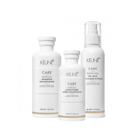 Rinkinys sausiems, blizgesį praradusiems plaukams Keune CARE Line (šampūnas+kondicionierius+purškiama dulksna)