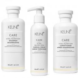 Rinkinys sausiems pažeistiems plaukams KEUNE Vital Nutrition Šampūnas 300ml, kondicionierius 250ml, kremas 140ml