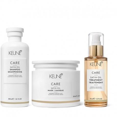 Rinkinys sausiems, porėtiems plaukams KEUNE SATIN OIL (šampūnas+kaukė+aliejus)