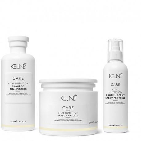 Rinkinys sausiems pažeistiems plaukams KEUNE Vital Nutrition Šampūnas 300ml, Kaukė 200ml, Purškiklis su keratinu 200ml