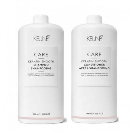 Rinkinys nepaklusnių plaukų priežiūrai KEUNE Care Line KERATIN SMOOTH (šampūnas 1000ml + kondicionierius 1000ml)