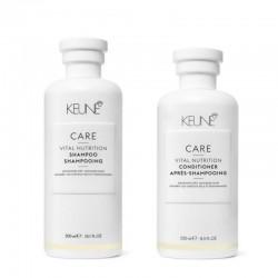 Rinkinys sausiems, pažeistiems plaukams KEUNE Care Line VITAL NUTRITION (šampūnas 300ml + kondicionierius 250ml)