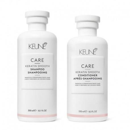 Rinkinys nepaklusnių plaukų priežiūrai KEUNE Care Line KERATIN SMOOTH (šampūnas 300ml + kondicionierius 250ml)
