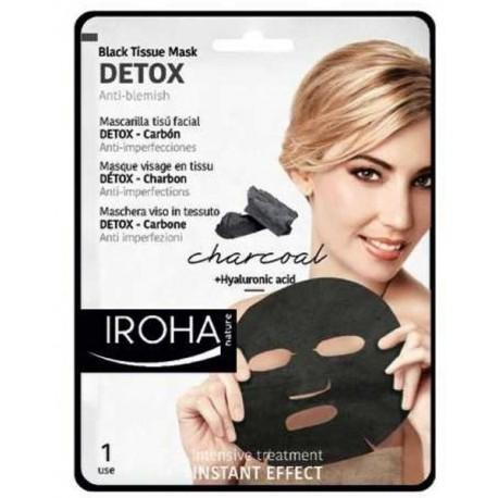 Detoksikuojanti veido kaukė su anglimi IROHA Black Tissue Detox Facial Mask Charcoal, popierinė 23ml
