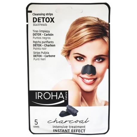 Giliai valančios nosies juostelės su anglimi IROHA Black Nose Detox Strips Charcoal 5 vnt.