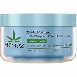Kūno šveitiklis su riešutų kevalo granulėmis Hempz Triple Moisture Herbal Whipped Creme Body Scrub 500 ml.