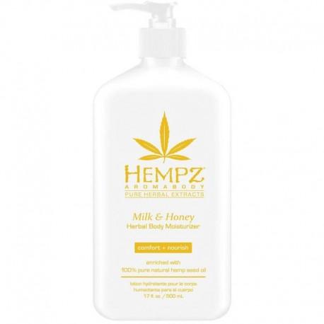 Drėkinantis kūno pienelis su pienu ir medumi Hempz Milk & Honey Herbal Body Moisturizer 500ml