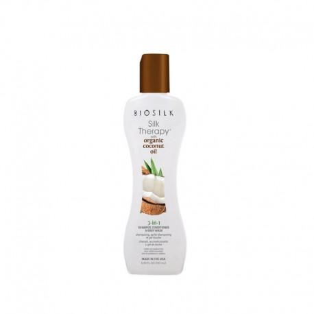 Šampūnas, kondicionierius ir kūno prausiklis Biosilk Silk Therapy with organic cococut oil  3 in1