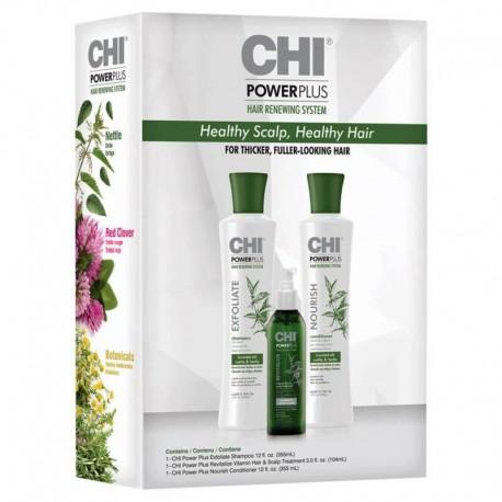 Rinkinys nuo plaukų slinkimo (Šampūnas+kondicionierius+purškiklis) CHI Power Plus Kit