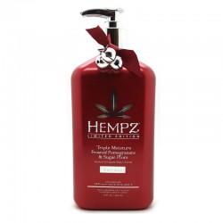 Kūno kremas su granatų ir slyvų ekstraktu Hempz Triple Moisture Frosted Pomegranate & Sugar Plum 500ml